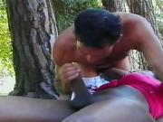 Black Brazilian Tranny and Her Huge Cock
