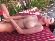Busty babe Kendall Karson plays w/ her pussy