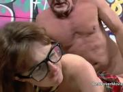 Teen rims old man with rough anal