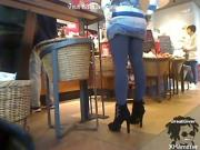 Teen girl shows clit in Starbuck coffee