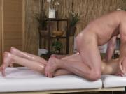 Sensual massage leads to passionate raw sex on massage table