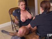Milf cops blackmail naughty trespasser into stuffing their coochies