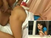 Asian Young Babe Bangs in public