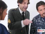Army guys live hot fantasy as they fuck each others stepdaughters