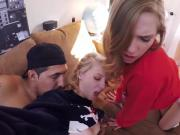 Flirty college babes threesome fuck in a van