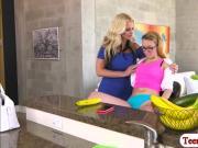 Blonde babe Haley gets fucked by her stepmom Alena Croft