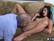 Pretty Teen And Old Stud Having Fun With Mouths