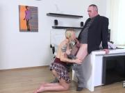 Fervent college girl was teased and banged by her older instructor