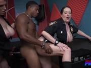 Perverted policewomen with huge asses got a balls deep penetration