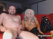 Blonde Mommy Sucking Dads Cock on Couch