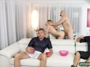 Teen grabs her uncles cock while watching the superbowl