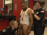 Horny criminal in barbeshop gets his cock serviced by horny female cops