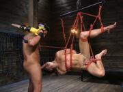 Bound submissive stud deepthroats masters rod