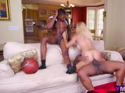 Horny blonde mommy sucks two massive black dicks and gets fucked by basketball studs