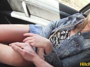 Blonde hitchhiker Vinna Reed getting her cunt banged outdoor