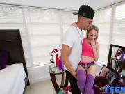 Petite blonde teen Angel Smalls sucks cock and gets drilled