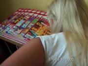 Blonde teen banged from behind upskirt