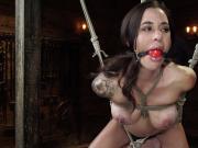 Busty slave in hogtie suspension