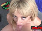 Naughty milf Stevie licks horny lovers hard cock before getting her cunt drilled