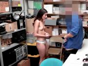 Emily is stripped down and banged in doggystyle against officer's desk