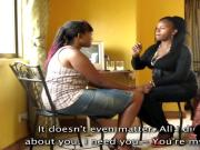 BBW African lesbians oiled up with dildo