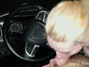 Blonde Slut Sucks in Parking Lot