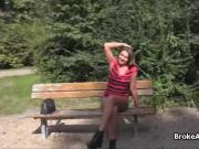 Busty amateur cocked in public park
