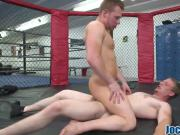 Working out gay jocks riding big dick gym ring