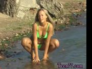 Teen girl older man Linda gets naked on the beach