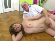 Cute bookworm gets teased and nailed by her older schoolteacher