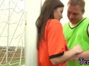 Ebony teen white dp and sweet first time Dutch football player