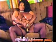 African BBW with huge tits pleasures her pussy