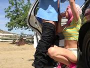 Slutty Aidra Fox in an outdoor sex with an arresting officer