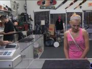 Small tits blonde babe sucks off and gets fucked by pawn guy