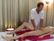 Masseur finger fucks slim brunette babe