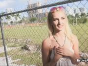 Icy blonde teen outdoors fucked