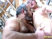 Old guy fingering nerdy blonde chick and receiving head