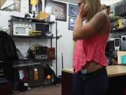 Sexy babe Layla London sucks dick in the pawnshop