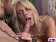 Slutty trio of platinum blonde cougars suck dicks and fucks in wild orgy