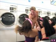 Teen sluts fucked by a lucky guy in the public laundry