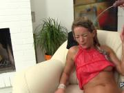 Staggered beauty in lingerie is geeting pissed on and drilled