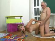 Cute schoolgirl gets tempted and fucked by her elderly lecturer