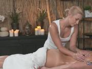 Horny brunette licks her blonde masseuse