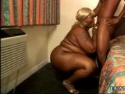 Overweight Blonde Ebony Sexpot Is One Cocksucking Specialist