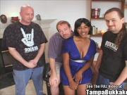 Desiree busty black girl dripping in cum from a bukkake party