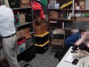 Teen blonde shoplifter Joseline Kelly getting fucked hard inside the office