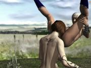 Mystical lesbian sorcerer fucks a wanderer in a forest