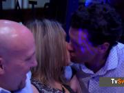 Swinger couples break the ice in a wild party bus before entering the Red Orgy Room.