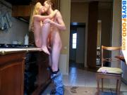Blonde teen on counter