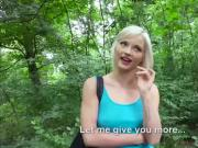 Petite blonde Zazie gets fucked in the bushes for cash